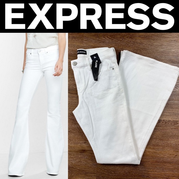d760adad171 NEW EXPRESS WHITE MID RISE BELL FLARE JEANS. M_5c76cac33c9844a2e53c2f82